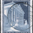 A stamp printed in Austria, is dedicated to the 100th anniversary of the parliament building, Vienna, circa 1983 — Stock Photo