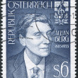 A stamp printed in Austria, is dedicated to the 100th anniversary of Alban Berg, composer, circa 1985 - 图库照片