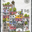 A stamp printed in Austria, devoted to the festival of culture EUROPALIA-87, shows a Hundertwasser House, Vienna, circa 1987 - 图库照片