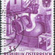 A stamp printed in Austria, devoted to 15th anniversary of nationalized industry, represented Pouring steel, VOEST, Linz, circa 1961 — Stock Photo
