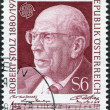 A stamp printed in the Austrian, portrayed Robert Stolz, Composer, circa 1980 - 图库照片