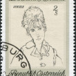 "A stamp printed in Austria, devoted to 200th anniversary of the Albertina, shows a portrait of the ""Wife of the Artist"", by Egon Schiele, circa - Stock Photo"