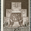 A stamp printed in Austria, devoted to the accession of Austria to the UN, represented Symbolic of Austria's Joining the UN, circa 1956 - Stock Photo