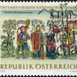 "AUSTRIA - CIRCA 1966: A stamp printed in Austria, from the collection of Austrian National Library, shows the Theater Collection: ""Eunuchus"" by Terence from a 1496 - Stock Photo"