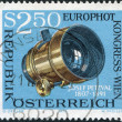A stamp printed in Austria, is dedicated to EUROPHOT Photographic Congress, Vienna, shows Josef Petzval's Photographic Lens, circa 1973 - Stock Photo