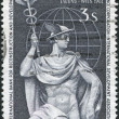 A stamp printed in Austria, devoted to the International Banking Congress, Vienna, shows Mercury and Globe, circa 1961 — Stock Photo