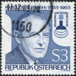 A stamp printed in Austria, shows Karl von Terzaghi, Founder of Scientific Subterranean Engineering, circa 1983 - 图库照片