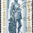 "A stamp printed in Austria, shows a bronze figure of ""King Arthur of England"" by Albrecht Durer and Peter Vischer, Hofkirche, Innsbruck - 图库照片"