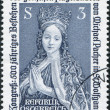 A stamp printed in Austria, is shown Kneeling Virgin, Detail of Coronation of Mary Altarpiece, St. Wolfgang, circa 1981 - Stock Photo