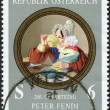 A stamp printed in Austria, shows a picture of &amp;quot;Mother with Child&amp;quot;, by Peter Fendi, circa 1996 - Stock Photo