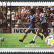 A stamp printed in the Belize, is dedicated to FIFA World Cup 1982 in Spain, shows a match between France - Northern Ireland, circa 1982 — Stock Photo