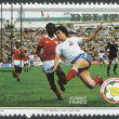 A stamp printed in the Belize, is dedicated to FIFA World Cup 1982 in Spain, shows a match between Kuwait - France, circa 1982 — Stock Photo