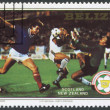 A stamp printed in the Belize, is dedicated to FIFA World Cup 1982 in Spain, shows a match between Scotland - New Zealand, circa 1982 — Stock Photo