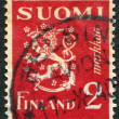 "A stamp printed in the Finland, shows a national symbol ""Lion"", circa 1936 — Stock Photo #12086526"