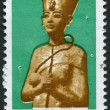 A stamp printed in Egypt, depicts pharaoh Tutankhamen, circa 1998 - Stok fotoğraf