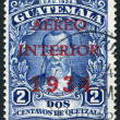 A stamp printed in the Guatemala, shows Justo Rufino Barrios (airmail stamp in 1934), circa 1926 - Foto Stock