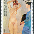 "A stamp printed in the Equatorial Guinea, is shown painting Pablo Picasso ""El Aseo"", circa 1975 — Stock Photo"
