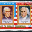 A stamp printed in the Equatorial Guinea, shows former U.S. president Thomas Jefferson and James Madison, circa 1975 - Stock Photo
