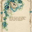 The German love postcard, with poems about love, depicted flowers, pipe and a mandolin, circa 1910 — Stock Photo