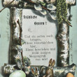 "Austrian Easter greeting postcard ""Happy Easter"" and a congratulatory poem, depicts a branch of willow, Easter eggs and rabbits, circa 1904 — Stock Photo"