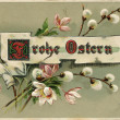 "German Easter greeting postcard ""Happy Easter"", depicts a willow branch, circa 1914 — Stock Photo"