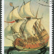 GUYANA - CIRCA 1990: A stamp printed in the Guyana, represented Galleon 1588, circa 1990 - Stock Photo