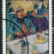 GRENADA - CIRCA 1976: A stamp printed in Grenada, is dedicated to the 75 th anniversary of the death of Henri de Toulouse-Lautrec, circa 1976 — Foto Stock