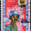 ETHIOPIA - CIRCA 1962: A stamp printed in the Ethiopia, is dedicated to the 70 th anniversary of King Haile Selassie I. UN soldiers on a map of the Congo, circa 1962 — Stock Photo