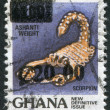 Stock Photo: GHAN- CIRC1988: stamp printed in Ghana, represented Scorpio (overprint), circ1988