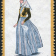 GREECE - CIRCA 1973: A stamp printed in Greece, shows the traditional costume of the island of Spetses, circa 1973 — Stock Photo