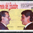 ECUADOR - CIRCA 1991: A stamp printed in the Ecuador, dedicated to the visit of the President of Bolivia, Ecuador, shows presidents Rodrigo Borja and Jaime Paz Zamor - Stock Photo