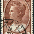 Stock Photo: GREECE - CIRC1957: stamp printed in Greece, shows Queen Olgof Greece, circ1957