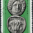 GREECE - CIRCA 1963: A stamp printed in Greece, shows the ancient Greek coins, Helios-Rose Coin, circa 1963 — Stock Photo #12086713