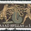 Stock Photo: GREECE - CIRC1970: stamp printed in Greece, shows image on amphora, battle of Hercules with LernaeHydra, circ1970