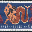 Stock Photo: GREECE - CIRC1970: stamp printed in Greece, shows image on amphora, battle of Hercules and Achelous, circ1970