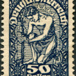 AUSTRIA - CIRCA 1919: A stamp printed in Austria, is shown Allegory of New Republic, circa 1919 - 图库照片