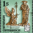 Stock Photo: AUSTRI- CIRC1995: stamp printed in Austria, shows Detail of abbesse's crosier, St. Gabriel Abbey, Styria, circ1995