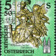 Stock Photo: AUSTRI- CIRC1993: stamp printed in Austria, shows Death, wooden statue by Josef Stammel (1695-1765) in Admont Abbey (Stift Admont), circ1993