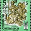 AUSTRIA - CIRCA 1993: A stamp printed in Austria, shows Death, wooden statue by Josef Stammel (1695-1765) in Admont Abbey (Stift Admont), circa 1993 — Stock Photo