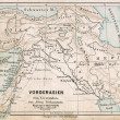 "GERMANY - CIRCA 1895: Map of the Middle East. Biblical places. Atlas B. Schwarze, Leipzig, Printing House ""Privilegierte Wurttembergische Bibelanstalt"", Germany, 1891 — Stock Photo"