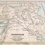 "GERMANY - CIRCA 1895: Map of the Middle East. Biblical places. Atlas B. Schwarze, Leipzig, Printing House ""Privilegierte Wurttembergische Bibelanstalt"", Germany, 1891 — Stock Photo"