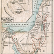 Map of Sinai Peninsula. The route of exodus of Jews from Egypt. The Bible. Germany, circa 1895 - Stock Photo
