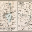 Map of sea of Galilee and Jerusalem, with the surroundings. The Bible. Germany, circa 1895 — Stock Photo