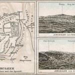Map of Jerusalem and surroundings. The Bible. Germany, circa 1895 — Stock Photo