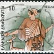 Stock Photo: GREECE - CIRC1986: Postage stamps printed in Greece, shows Gods of Olympus, Artemis, circ1986