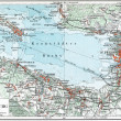"""GERMANY - CIRCA 1910: Map of St. Petersburg and the surrounding area, Kronstadt and the Gulf of Finland. Publication of the book """"Meyers Konversations-Lexikon"""" — Stock Photo"""