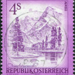 AUSTRIA - CIRCA 1973: A stamp printed in Austria, shows the lake Almsee, circa 1973 - Stock Photo