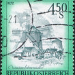AUSTRIA - CIRCA 1976: A stamp printed in Austria, shows the Windmill, Retz, circa 1976 - Stock Photo