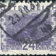 AUSTRIA - CIRCA 1932: A stamp printed in Austria, shows the city of Salzburg, circa 1932 — Foto de Stock