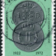 Royalty-Free Stock Photo: LUXEMBOURG - CIRCA 1971: A stamp printed in Luxembourg, is dedicated to the 50th Anniversary of Economic Union of Luxembourg and Belgium, shows Coins of Luxembourg